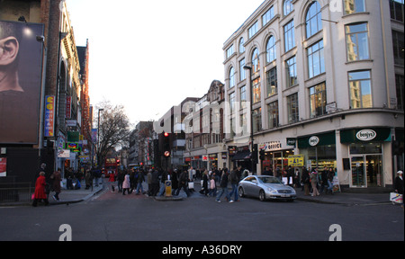 Charing Cross Road junction with Tottenham Court Road London Winter 2006 - Stock Image