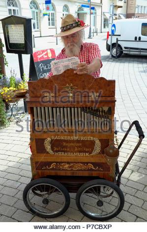 Mobile musical organ, in Neunkirchen in Lower Austria, Austria. - Stock Image