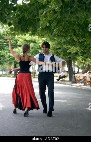 Greek dancers,  Spianada, Kerkyra, Corfu, Greece, - Stock Image