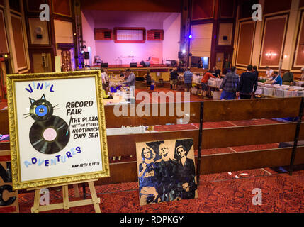 The 'Vinyl Adventures'  fair held in the old Plaza building, Northwich, Cheshire, Uk. 2018. - Stock Image