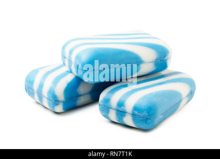Three pieces of blue soap isolated on white background - Stock Image