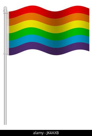 beautiful illustration of colorful rainbow flag, isolated on white background - Stock Image
