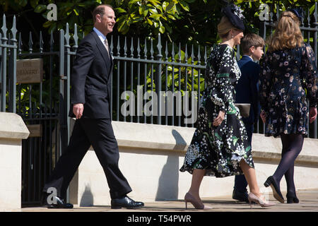 Windsor, UK. 21st April 2019. The Earl and Countess of Wessex, James, Viscount Severn, and Lady Louise Windsor leave St George's Chapel in Windsor Castle after attending the Easter Sunday service. Credit: Mark Kerrison/Alamy Live News - Stock Image