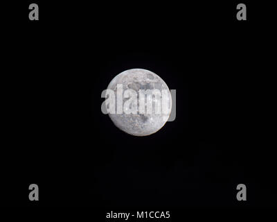 Ashbourne, UK. 29th January, 2018. UK Weather: Bright clear moon in the sky over Ashbourne Derbyshire two days before - Stock Image