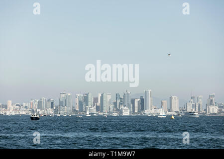 Sunny waterfront cityscape view, San Diego, California, USA - Stock Image