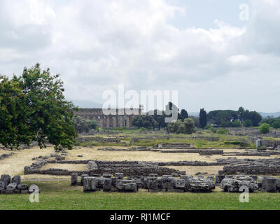 Temple of Hera, at Paestum, Italy, long view from the Temple of Athena on the other end of the site - Stock Image