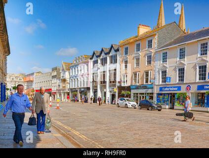 12 June 2018: Truro, Cornwall, UK - Shops and people in Boscawen Street, Truro - Stock Image