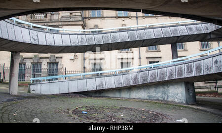 Circular concrete brutalist footpath with railings at the rear of the World Museum Liverpool January 2019 - Stock Image