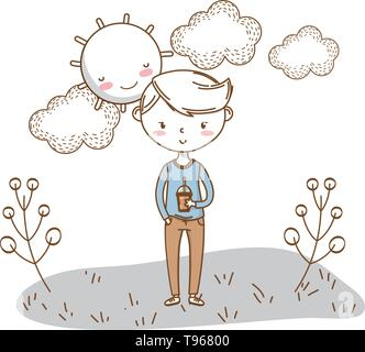 Stylish boy blushing cartoon outfit pants sweater soda cup  nature clouds background frame and sun vector illustration graphic design - Stock Image