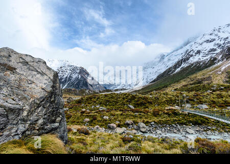 Mountains on the Hooker Valley Track - Stock Image