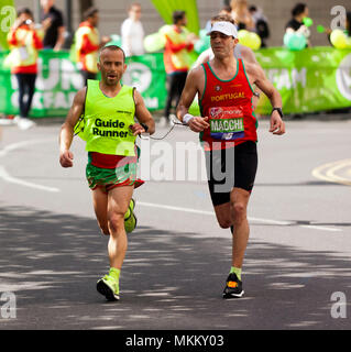 Gabriel Macchi  competing for Portugal in the World Para Athletics World Cup, Part of the 2018 London Marathon. He  finished 9th in a time of 02:44:02 - Stock Image
