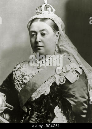 Victoria was Queen of the United Kingdom of Great Britain and Ireland from 20 June 1837 until her death in 1901. On 1 May 1876, she adopted the additional title of Empress of India. Scanned from image material in the archives of Press Portrait Service - (formerly Press Portrait Bureau). - Stock Image