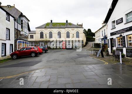 The Market house hall, Hawkshead village market place square, Lake District, Cumbria, England - Stock Image
