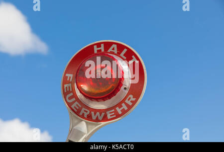 Stop trowel of the german fire Brigade - Red Light - Halt Feuerwehr - Stock Image