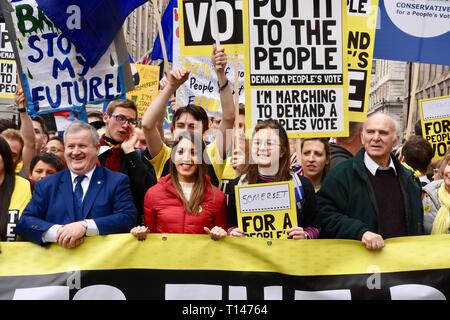 London, UK. 23rd March, 2019. Sir Vince Cable, People's Vote March, Piccadilly, London.UK Credit: michael melia/Alamy Live News - Stock Image