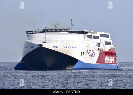 Fast ferry Express inbound Kiel, bound for Mediterranean - Stock Image