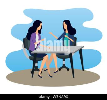 businesswomen teamwork in the desk with elegant clothes - Stock Image