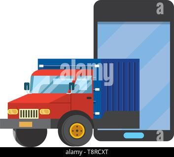 truck with cellphone icon cartoon vector illustration graphic design - Stock Image