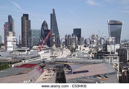 London financial district skyline 2014 - Stock Image