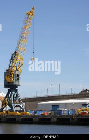 Dock Crane on the River Wear, Sunderland. - Stock Image