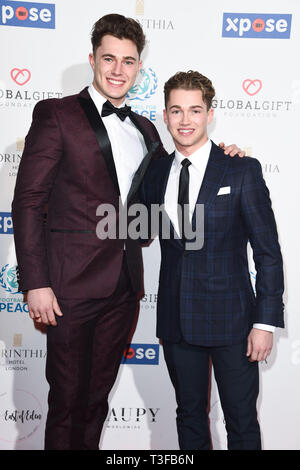 London, UK. 08th Apr, 2019. LONDON, UK. April 08, 2019: Cutis & AJ Pritchard arriving for the Football for Peace initiative dinner by Global Gift Foundation at the Corinthia Hotel, London. Picture: Steve Vas/Featureflash Credit: Paul Smith/Alamy Live News - Stock Image
