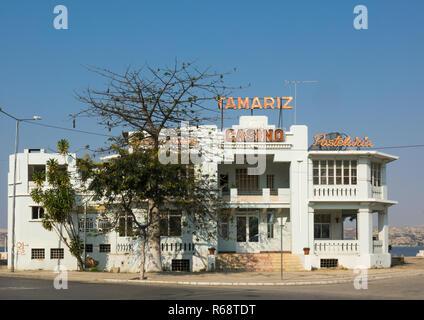 Tamariz Casino, an abandoned Portuguese style colonial building, Benguela Province, Lobito, Angola - Stock Image
