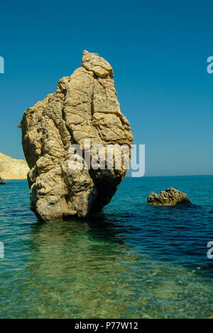 The romantic location of the birth of the Goddess of Love - Aphrodite - in the Mediterranean island of Cyprus - Stock Image