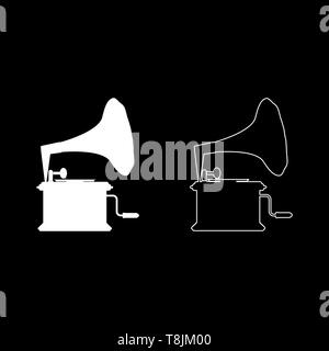 Phonograph Gramophone vintage Turntable for vinyl records icon outline set white color vector illustration flat style simple image - Stock Image