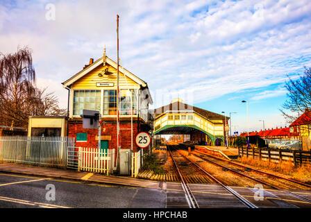 Beverely, Yorkshire, British Rail, railway line, rail station, train station, building, exterior, Beverley UK England - Stock Image