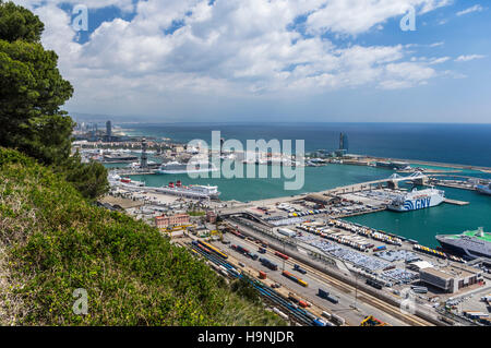 View of the port of Barcelona, Catalonia, Spain, from above. - Stock Image
