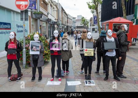 "Wolverhampton, UK. 1st July 2017. Campaign for veganism, promoting award winning film, ""Earthlings' Credit Greg - Stock Image"