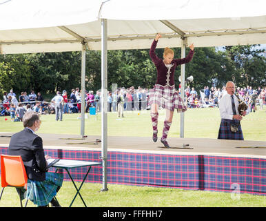 Highland dancing competition at the Stirling Highland games , Stirling in Scotland - Stock Image