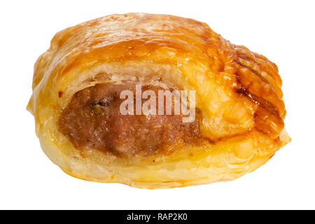 Home baked sausage roll brushed with egg and isolated on a white background. - Stock Image