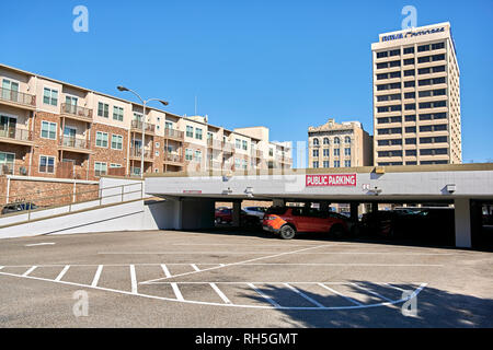 Public parking garage or car park in downtown Montgomery Alabama, USA. - Stock Image