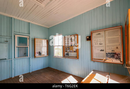 Interior of the restored historic Injune Railway Station, 1920-1967, used to service the farming and coal mining industries. South West Queensland, QL - Stock Image