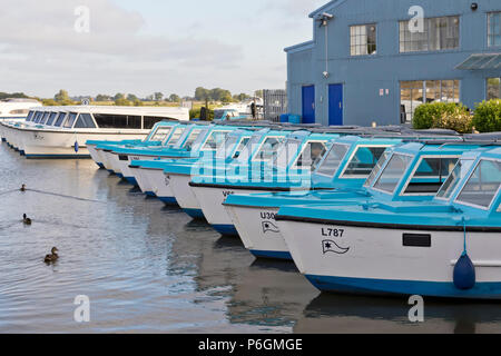 Rows of day boats moored at Herbert Woods boat yard, Potter Heigham, Norfolk, UK. - Stock Image