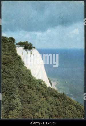GERMANY - CIRCA 1966: A postcard printed in Germany, shows the Koenigsstuhl - seen from Victoria's View, Ruegen, - Stock Image
