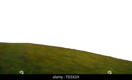round hill of grass isolated on white background - Stock Image
