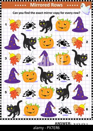 Halloween puzzle: Match the pairs - find the exact mirror copy for every row of pumpkin, black cat, spider, autumn leaves, witch's hat. - Stock Image