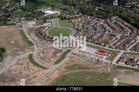 aerial view of a new housing development at Woodford, Stockport, near Manchester - Stock Image