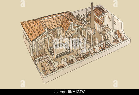 Córdoba, Spain - July 14th, 2017: Roman Domus. Historical reconstruction drawing at Archaeological Museum of Cordoba, Spain - Stock Image
