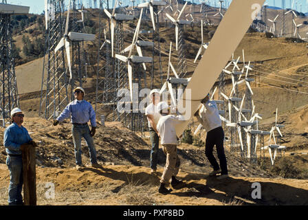 Wind-power generators erected at the Tehachapi Pass area of Kern County, California - Stock Image