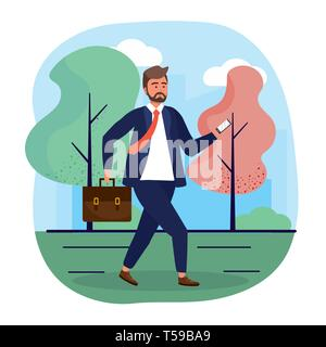 businessman with smartphone technology and elegant clothes vector illustration - Stock Image