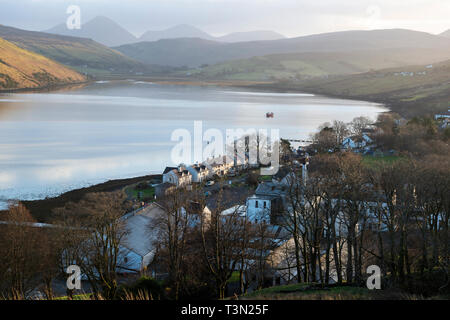 View looking south-east over Carbost to Loch Harport on Isle of Skye, Highland Region, Scotland, UK - Stock Image