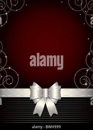 Christmas background with silver bow - Stock Image