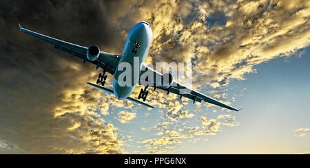 Passenger jet airliner flying overhead closeup with a yellow coloured altocumulus cloud formation  blue sky. Atmospheric beauty in nature. Queensland - Stock Image