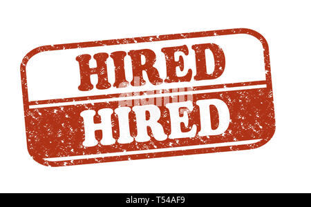Rubber Stamp Hired, text on white illustration - Stock Image