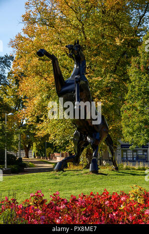 The metal black horse sculpture called Bucephalus and knew locally as Trigger. The sculpture was created by Simon Evans and is on Greyfriars Green in  - Stock Image
