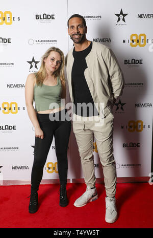 Rio Ferdinand and cast member Jessica Collins attend the film premier '90 Minutes'  Featuring: Rio Ferdinand, Jessica Collins Where: London, United Kingdom When: 19 Mar 2019 Credit: Jed Leicester/PinPep/WENN.com - Stock Image