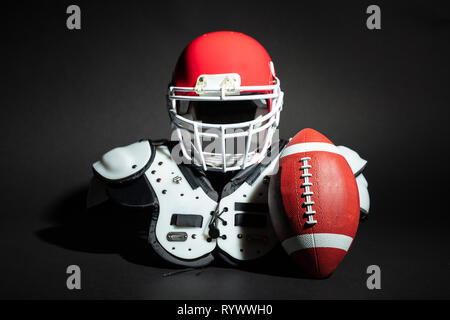 Rugby Ball And Equipment On Black Background - Stock Image